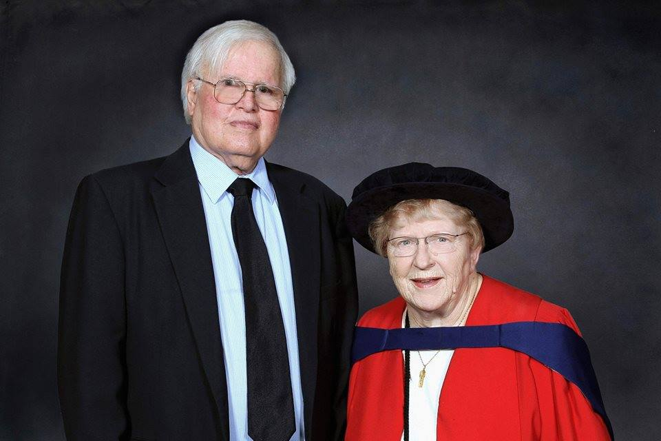Old allies reunited: Don Beck and Loraine Laubscher at the awarding of Laubscher's doctorate, Autumn 2013. [Photo courtesy of Rica Viljoen/Mandala Consulting]