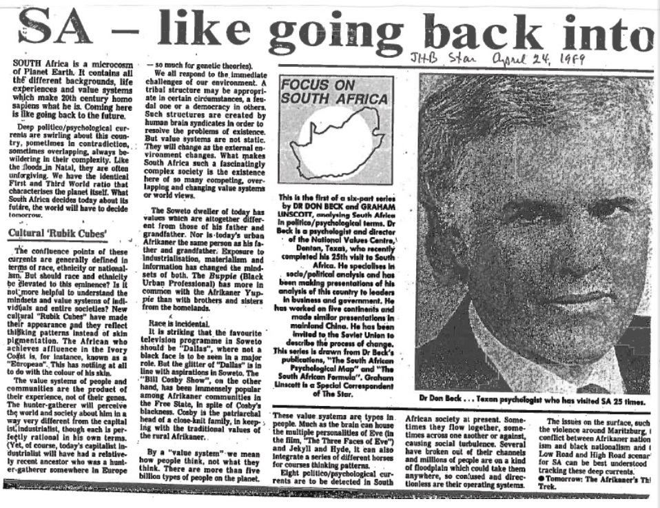 One of the articles Beck wrote with journalist Graham Linscott (Courtesy Loraine Laubscher)