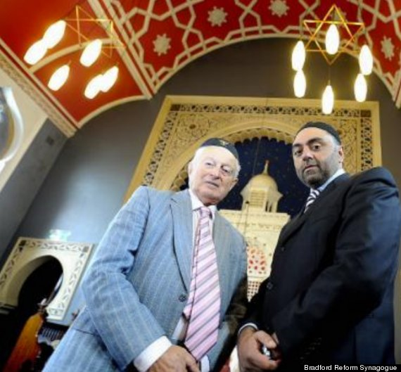 Bradford Synagogue's Rudi Leavor with the Bradford Council of Mosques Zulfi Karim - photo copyright © 2013 Bradford Reform Synagogue