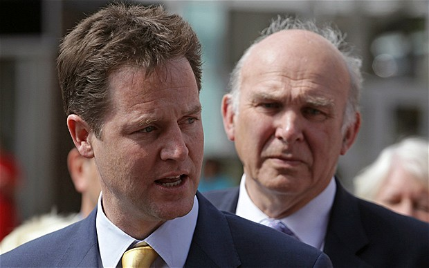 Nick Clegg and Vince Cable; photo copyright © 2010 Getty