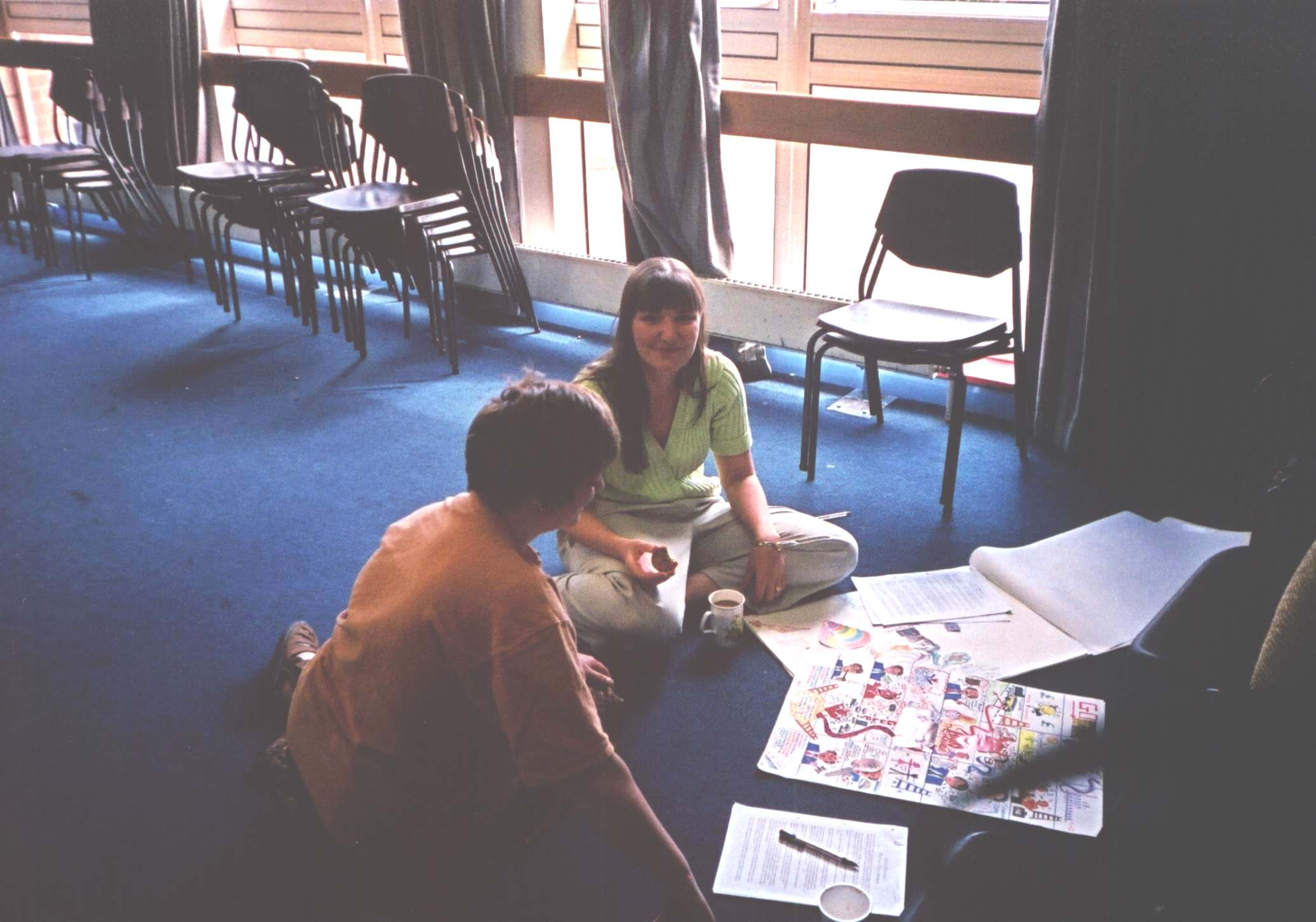 July 2001: Helen Ezard (Partnerships in Care plc, Beverley) and Jennifer Crossland (Europarc Innovation Centre, Grimsby) working on a colourful case study, employing Jennifer's considerable graphic skills