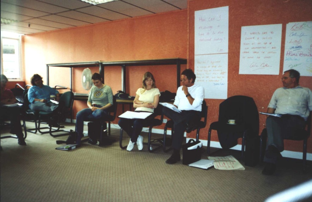 May 2002: Sarah Watson (Longhill Consortium), Lou Howard (The Learning Shop), Deborah Law (Business in the Community), John Buttrick (Children's University) and John Corneilius (Malet Lambert School) ready to restart after a break