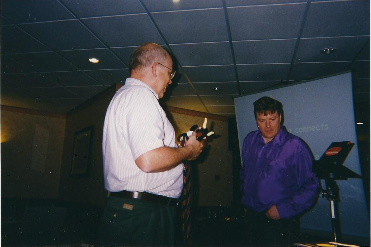 Chris with Business Link's Ian Lavan (April 1998)