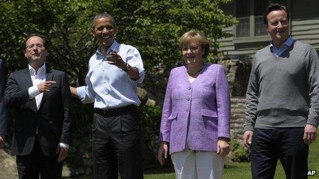 Hollande, Obama, Merkel and Cameron at Camp David, 19 May. Copyright © 2012 Associated Press