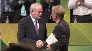 Martin MgGuinness and David Latimer at the ard fheis, September 2011 [Copyright © 2011 BBC