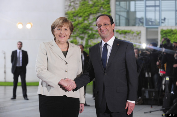 Merkel meets Hollande, 15 May. Copyright © 2012 John MacDougall/AFP