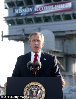 Bush: Mission accomplished! Copyright © 2003 AF/Getty Images