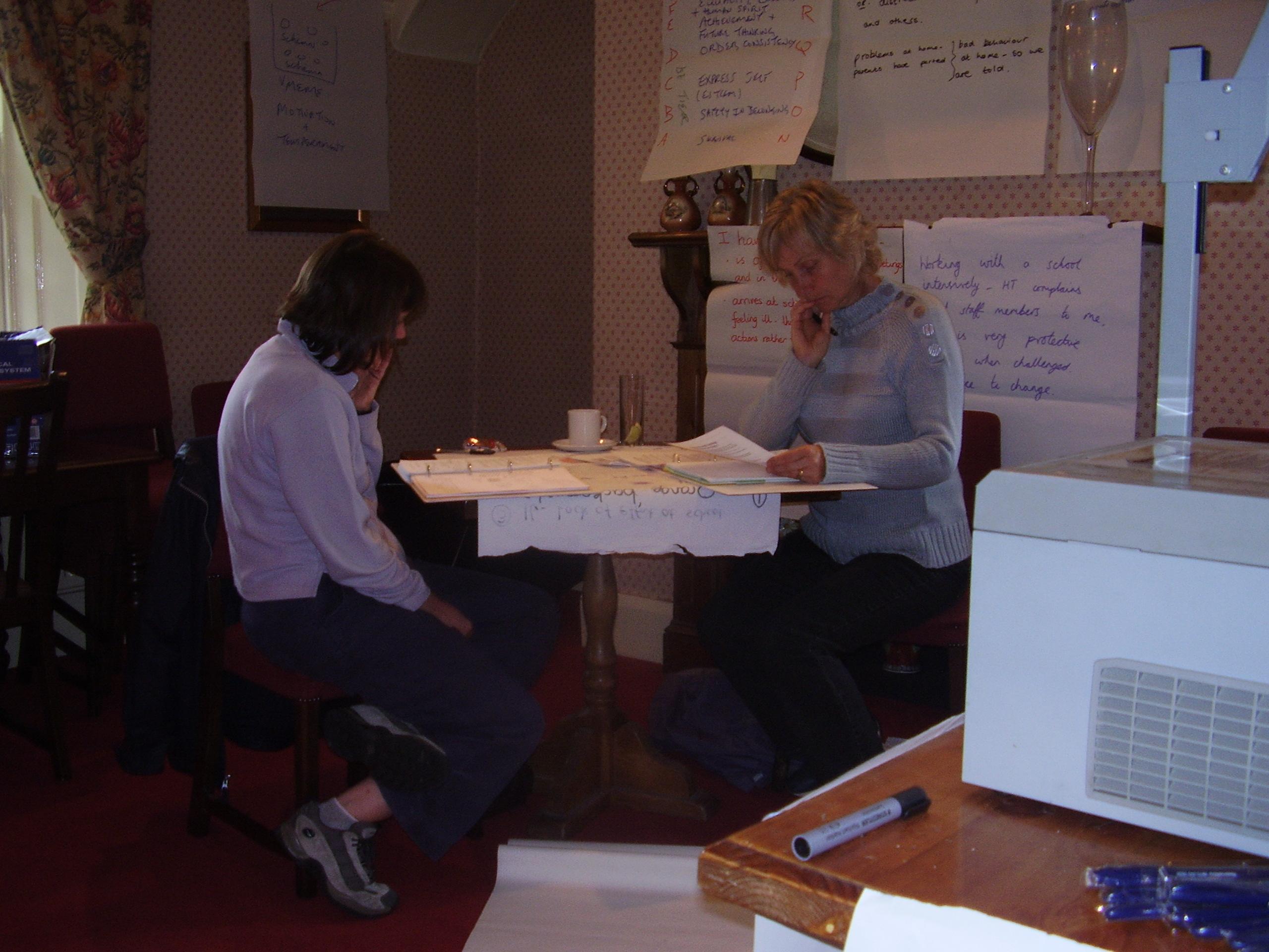 June 2007: Lynn Songhurst and Jane Lancaster (both Beckwithshaw Community Primary School, Harrogate) read through their case study