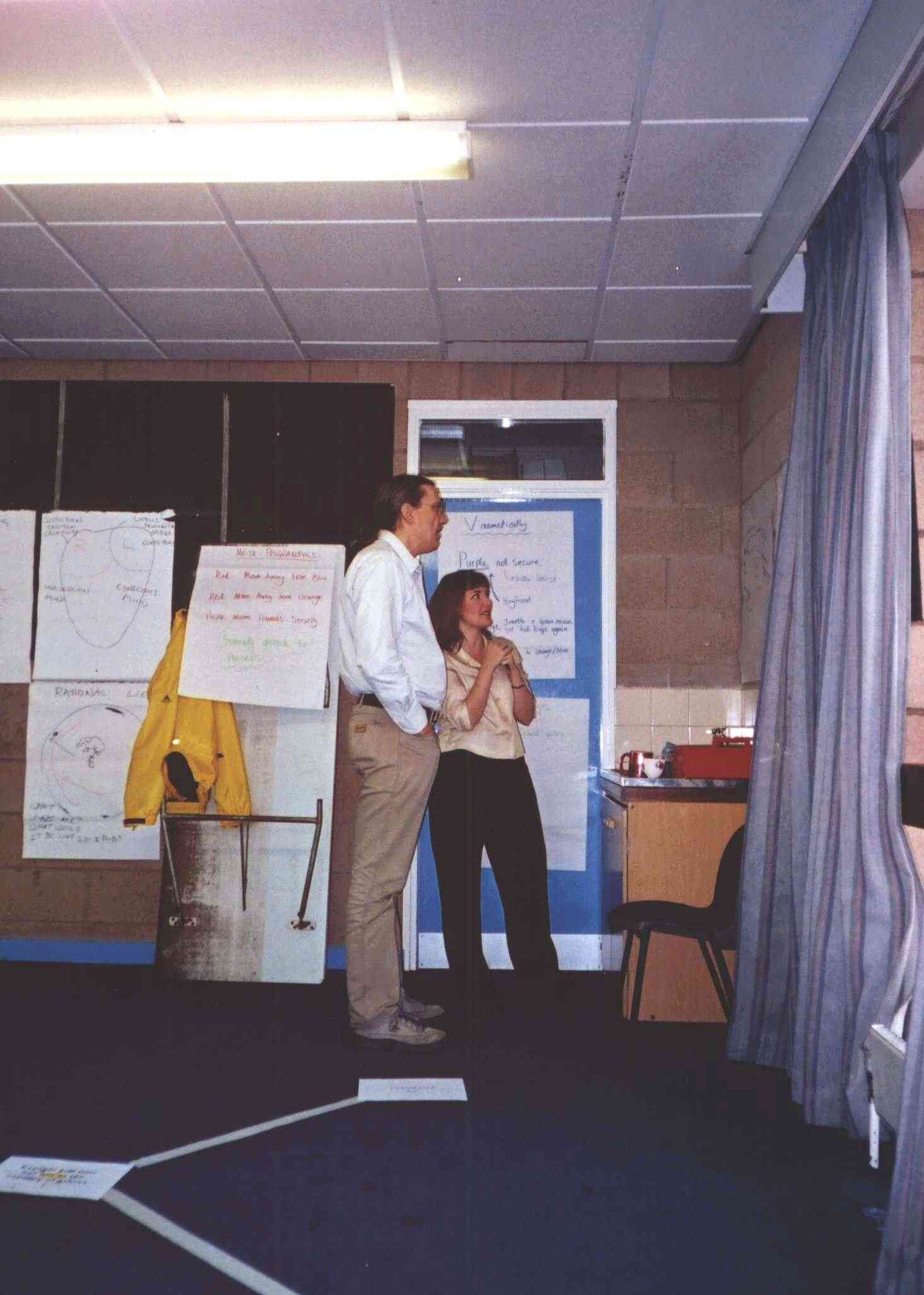 July 2001: David Burnby (Common Purpose in Hull) and Jennifer Crossland reviewing flip charts