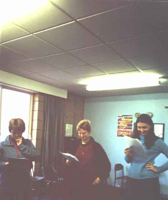 March 2001: Angela Ogilvie (St Mary's College, Hull), Lynne Clarke (Shaw Park Primary School), Hull) and Jenni Newberry (St Mary's) laughing their way through a Spiral Dynamics role play