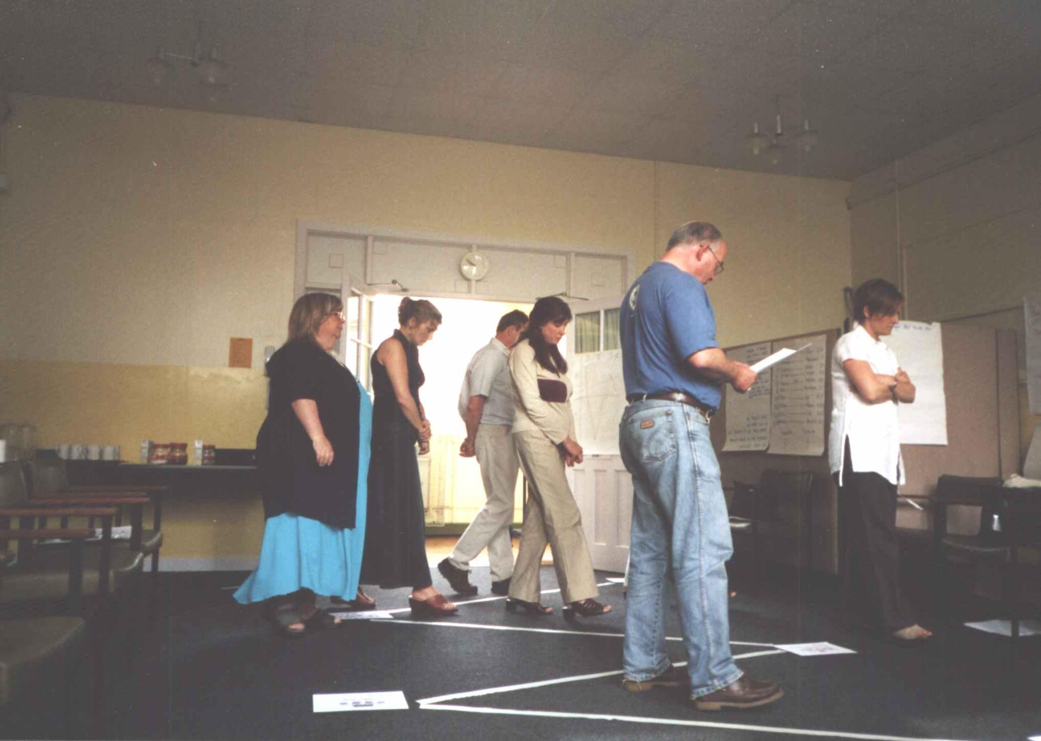 June 2003: Gina Holdsworth, Melanie Hunter (The Zone) Tony Cosgrove (Nortech Services Ltd, Hull), Angela Lambert-Dowell and Deb Tate (Hull City Vision) 'walking the Spiral', June 2003 (Helen Ezard)