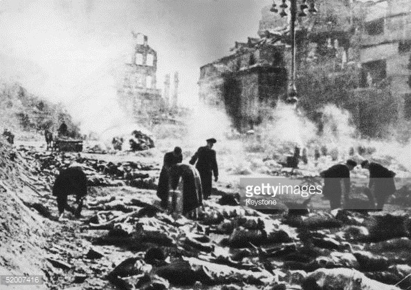 Dresden after a bombing raid, 1945