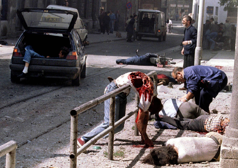 Sarajevo after a sniper attack, May 1992)