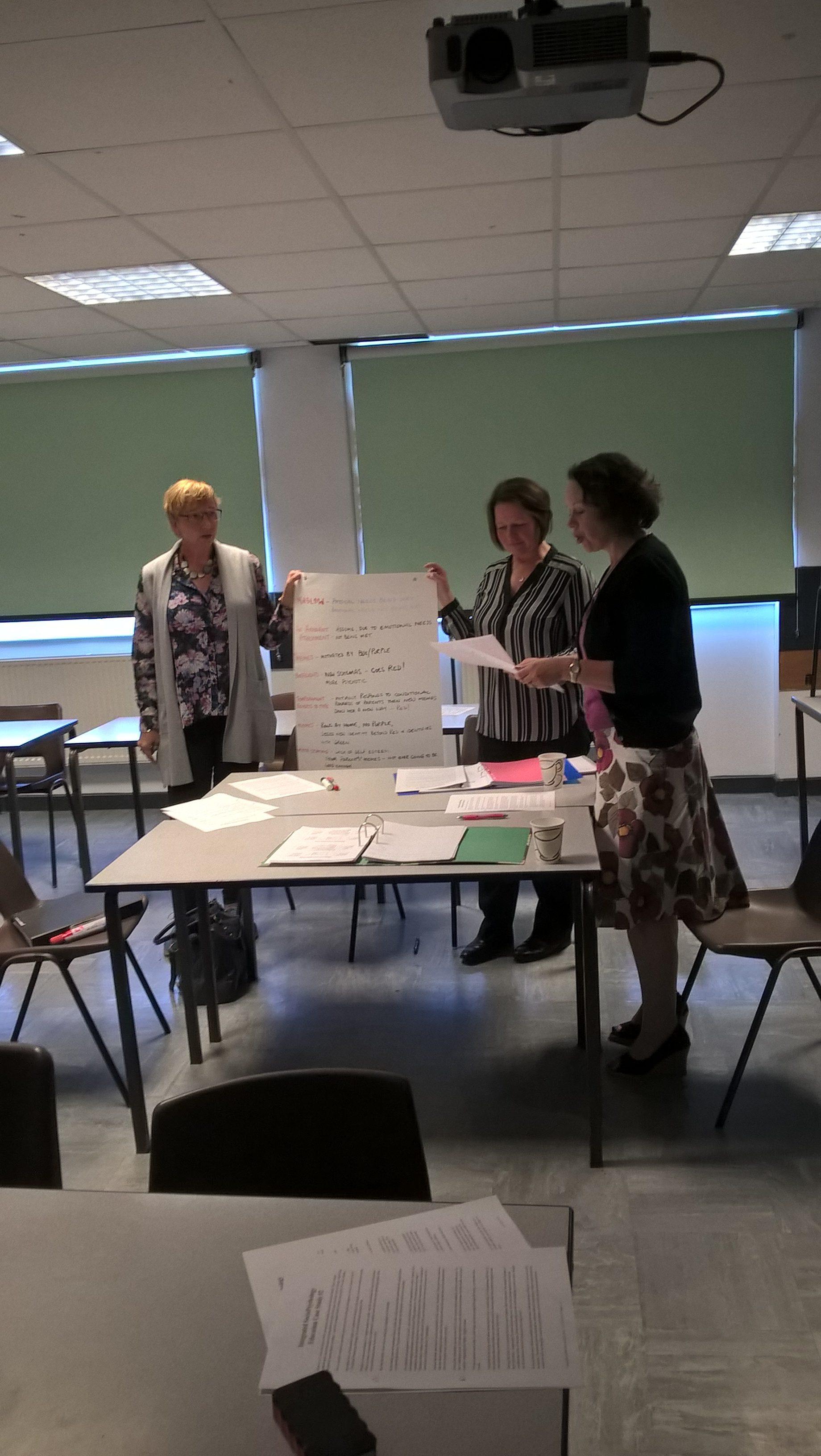 June 2016: Penny Wilson, Deborah Willams and Rebecca Warner presenting their case study at Rossett
