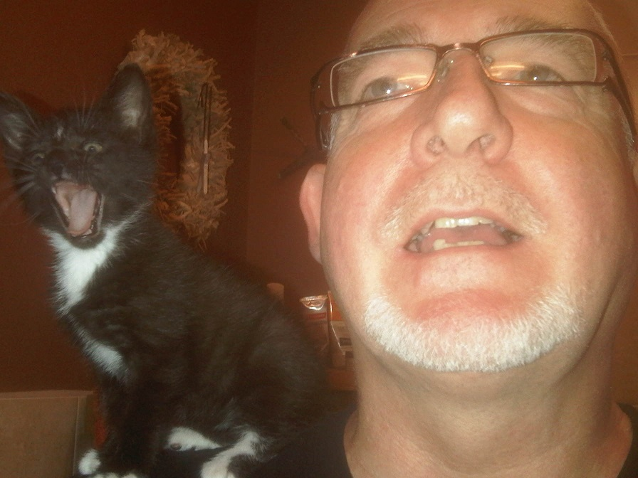 Cute kitten Baz singing with me, late 2011